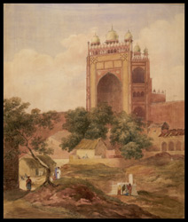 The Buland Darwaza of the Jami Masjid, Fatehpur Sikri, near Agra (U.P.). 1829, from a sketch made in 1827